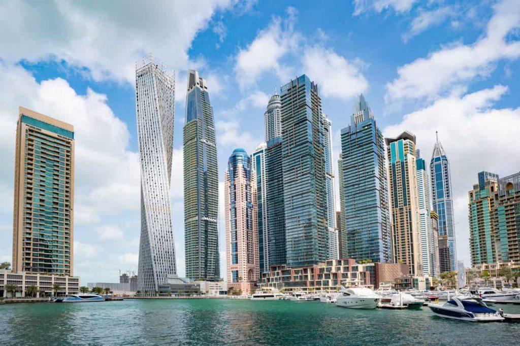 Travel to United Arab Emirates, UAE to see Dubai Skyline in Daylight.